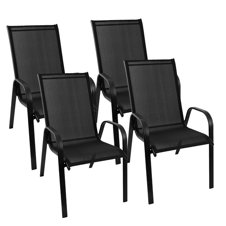 4 Stück Gartenstuhl stapelbar Gartensessel Stapelstuhl Stapelsessel Stahlgestell pulverbeschichtet mit Textilenbespannung Gartenmöbel Terrassenmöbel Balkonmöbel