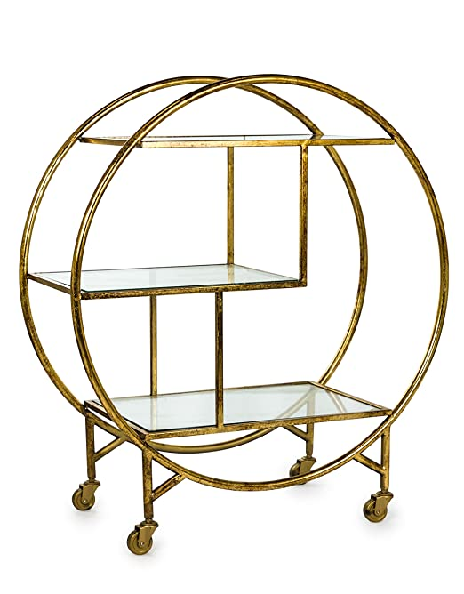 Antiqued Champagne Metal & Glass Shelves Bar Hostess Trolley