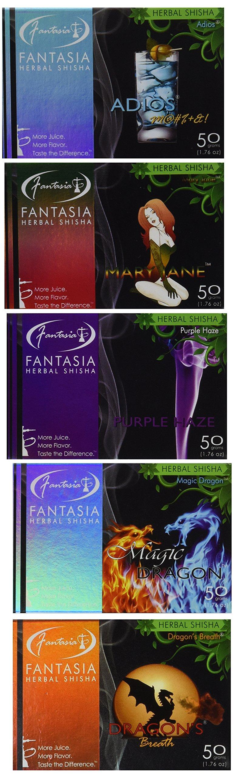 Fantasia 50 Gram Herbal Shisha - 5 Fantasy Flavors Variety Pack