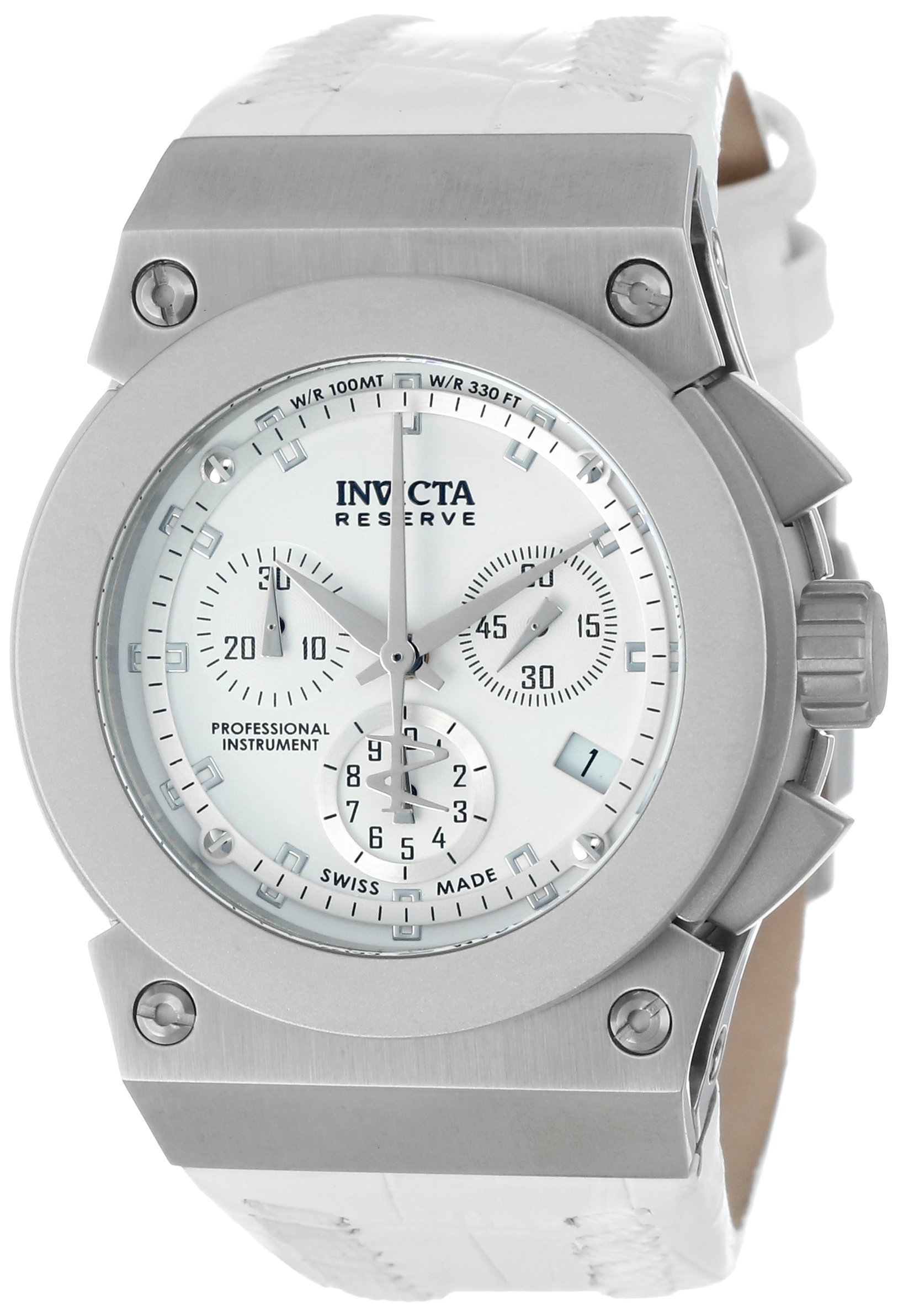 Invicta Women's 5564 Reserve Collection Akula Chronograph White Leather Watch by Invicta