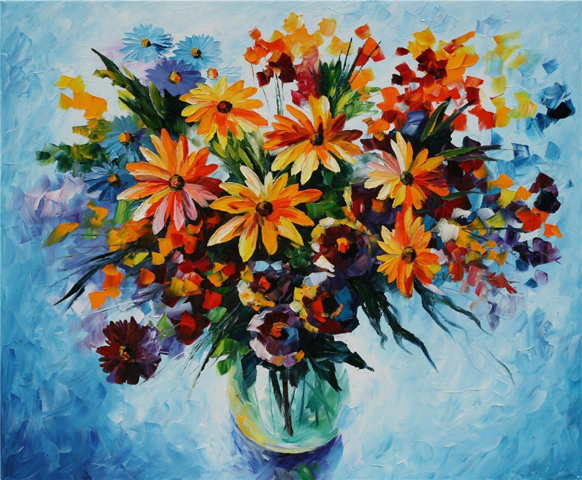 100% Hand Painted Oil Paintings Modern Canvas Art Abstract Oil Painting Colourful Flowers Home Wall Decor (24X29 Inch, Canvas 2) by Bingo Arts