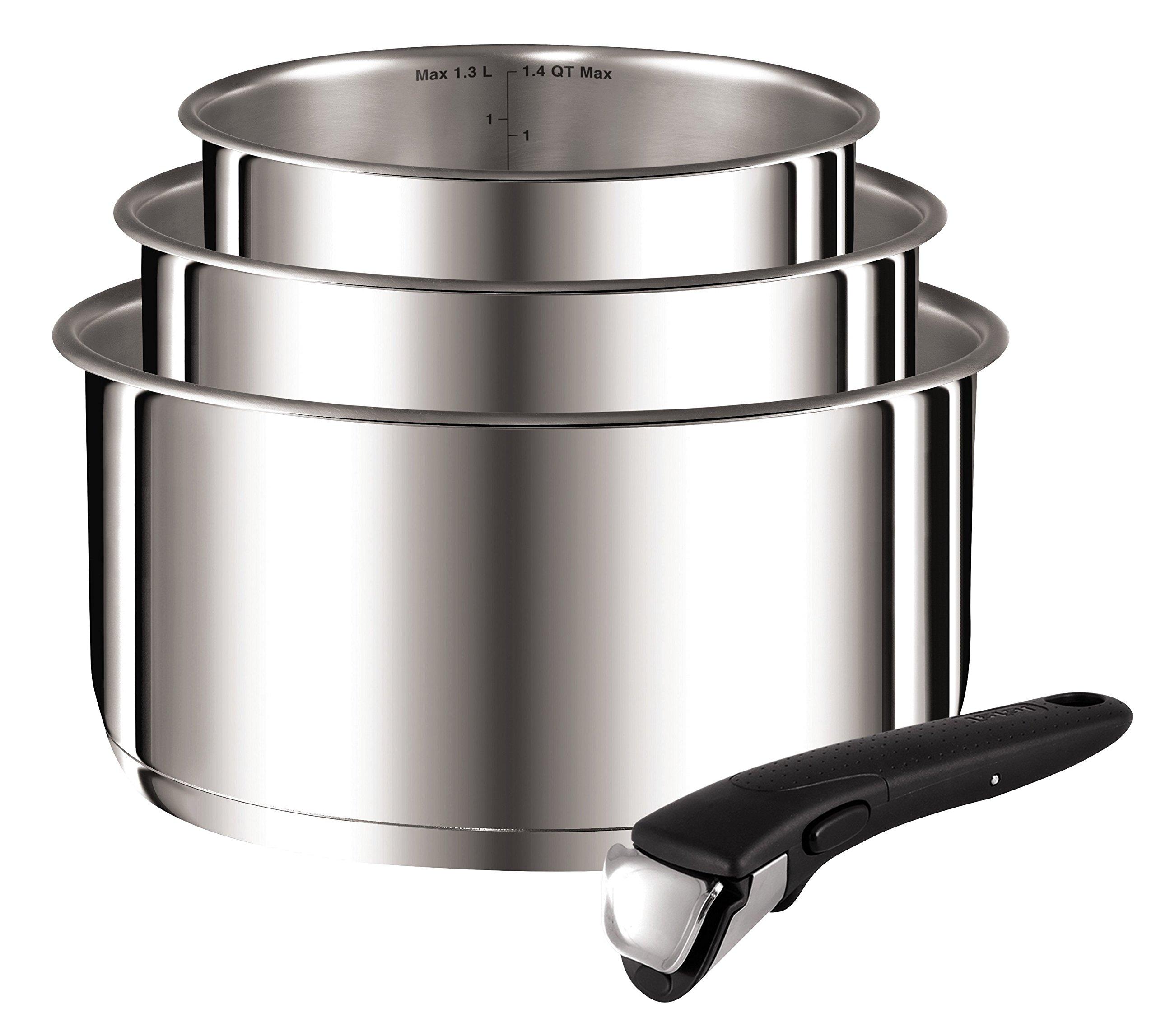 Tefal-L9419502-Ingenio Preference casseroles 16/18/20 cm + 1 Poignée Inox Non Revêtues Tous Feux Dont Induction ( contient 4 pièces ) product image