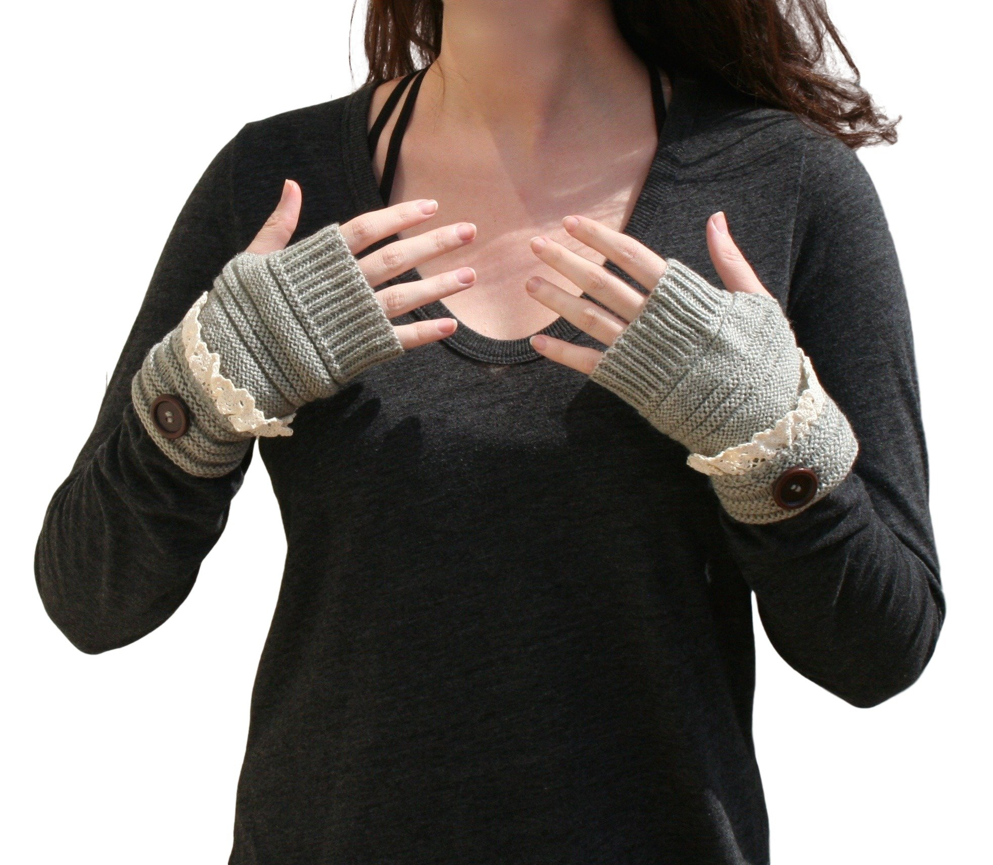 Blue 55 Cute Cozy Fingerless Thumbhole Knit Lace Hand Warmer Glove Mittens and boot cuffs Legwarmers Steel Grey One Size Item