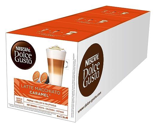 NESCAFÉ Dolce Gusto Latte Macchiato Caramel | 48 Kaffeekapseln | Arabica Robusta Mischung | Feines Karamell Aroma und leckere