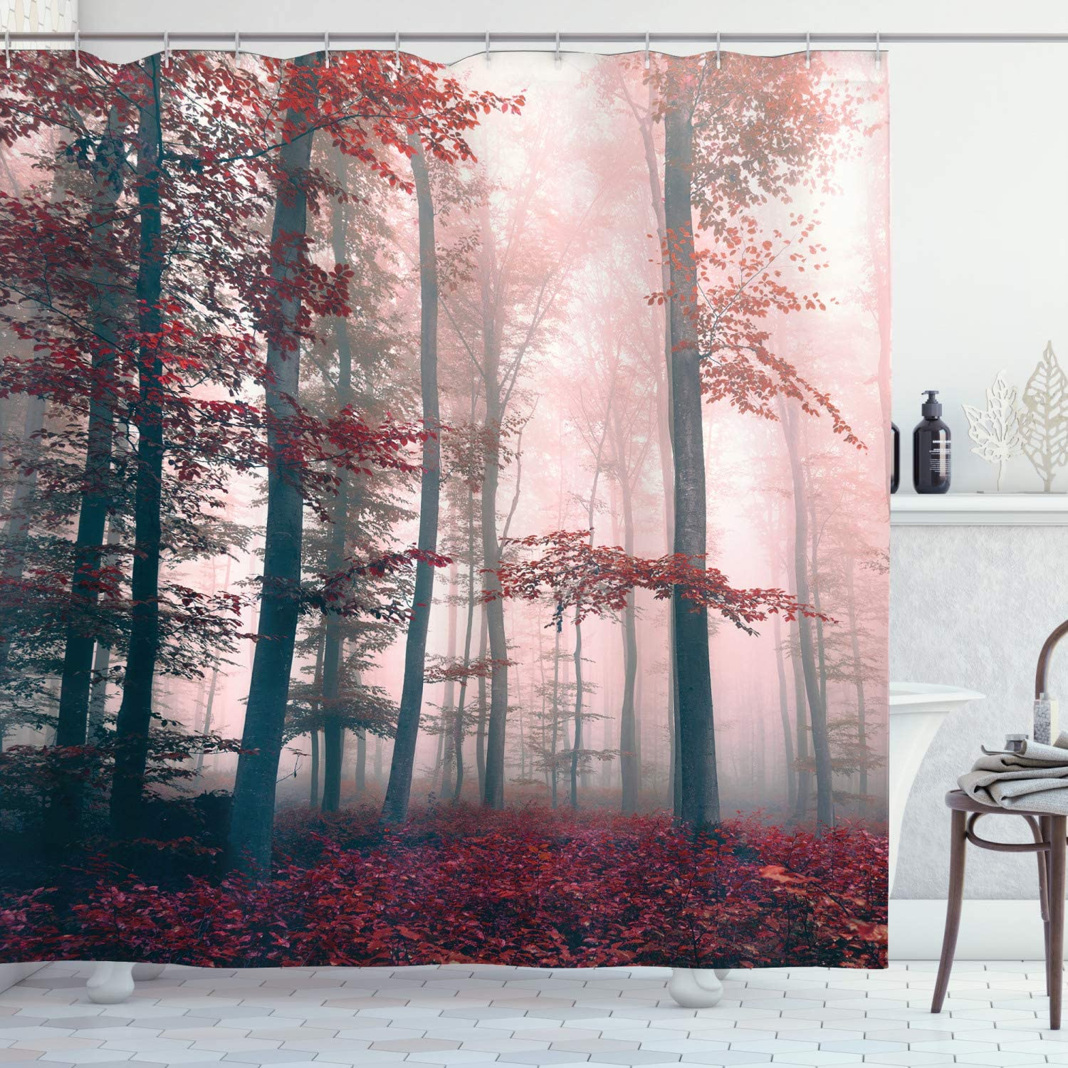 """Ambesonne Forest Shower Curtain, Autumn Season Mystic Foggy Fall Nature and Enchanted Woods Wild Trees Print, Cloth Fabric Bathroom Decor Set with Hooks, 70"""" Long, Red"""