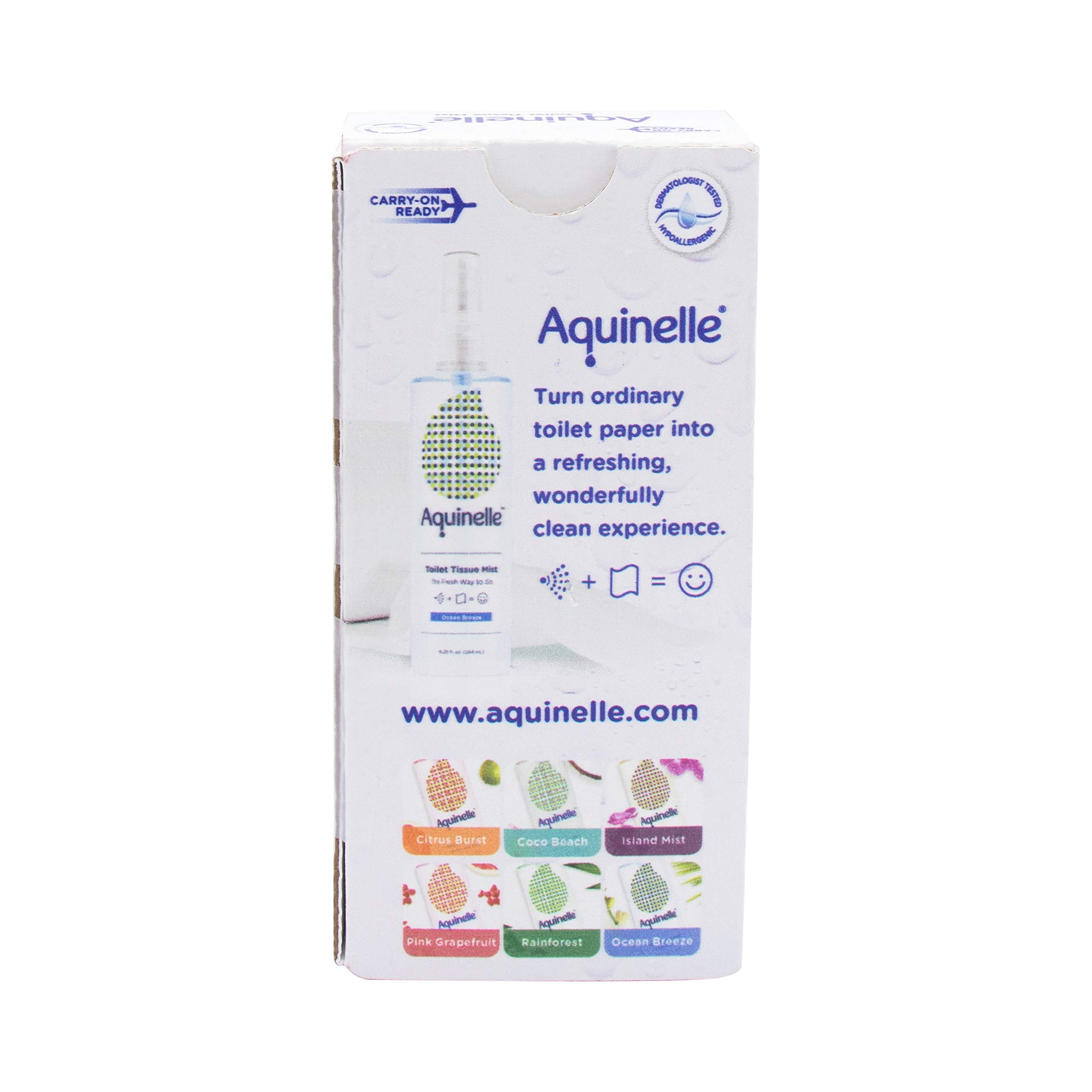 Aquinelle Toilet Tissue Mist Gift Set, Eco-Friendly & Non-Clogging Alternative to Flushable Wipes Simply Spray On Any Folded Toilet Paper (2 Pack Ocean Breeze 3.25 oz) by Aquinelle