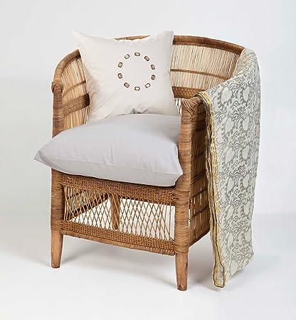 Warm Heart Bohemian Woven Malawi Chair   Natural Cane Finish