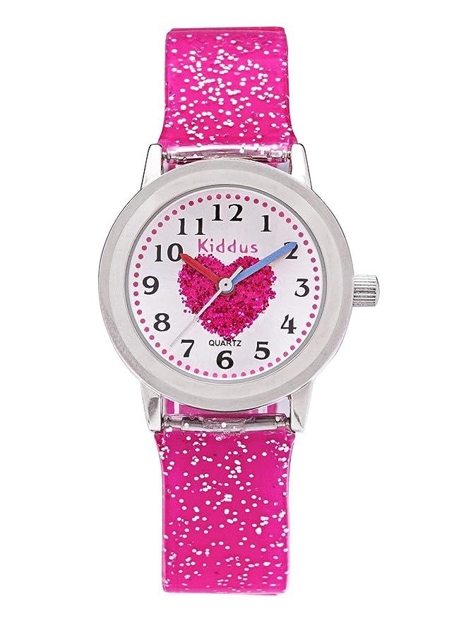 Reloj niña chica infantil analógico de cuarzo en caja de regalo, Sumergible en agua, Mecanismo Seiko, Bateria Sony, Rosa, Kiddus FAB2: Amazon.es: Relojes