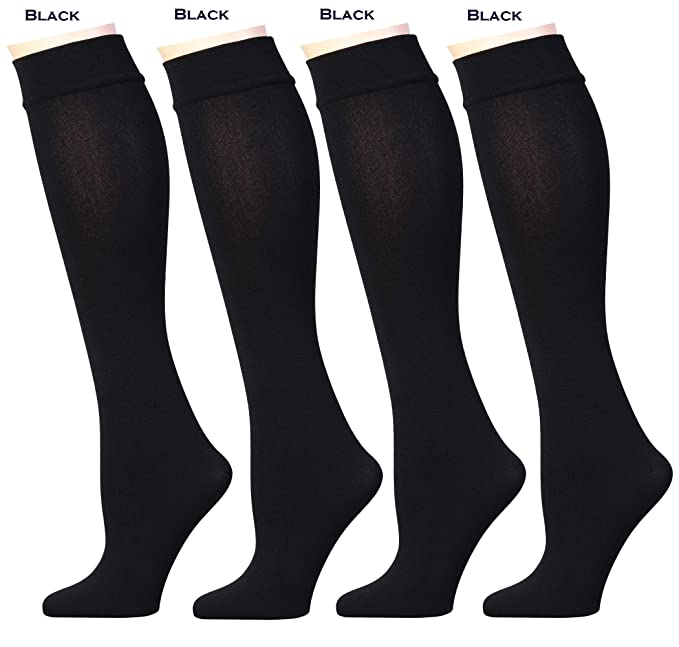 57c6f58b705 Women s Opaque Plush Fleece Lined Knee High Or Crew Socks (Pack of 4 or 6