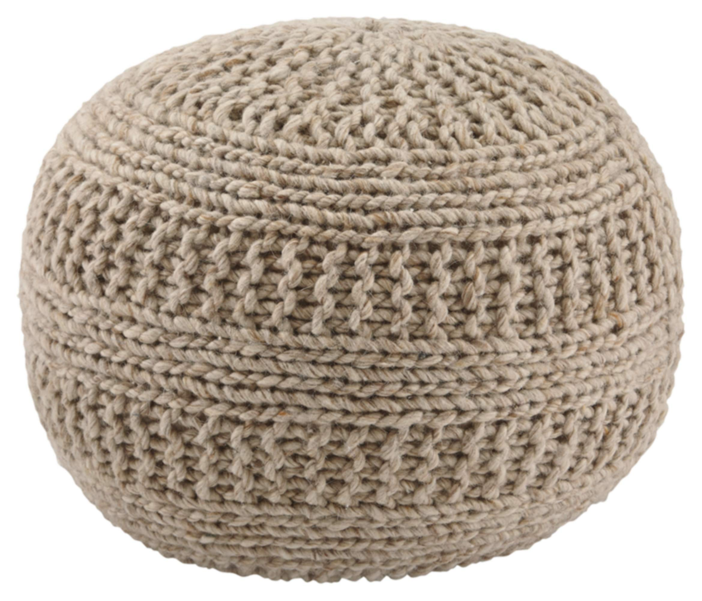 Ashley Furniture Signature Design - Benedict Pouf - Comfortable Ottoman & Footrest - Handmade Rib Knit - Natural by Signature Design by Ashley