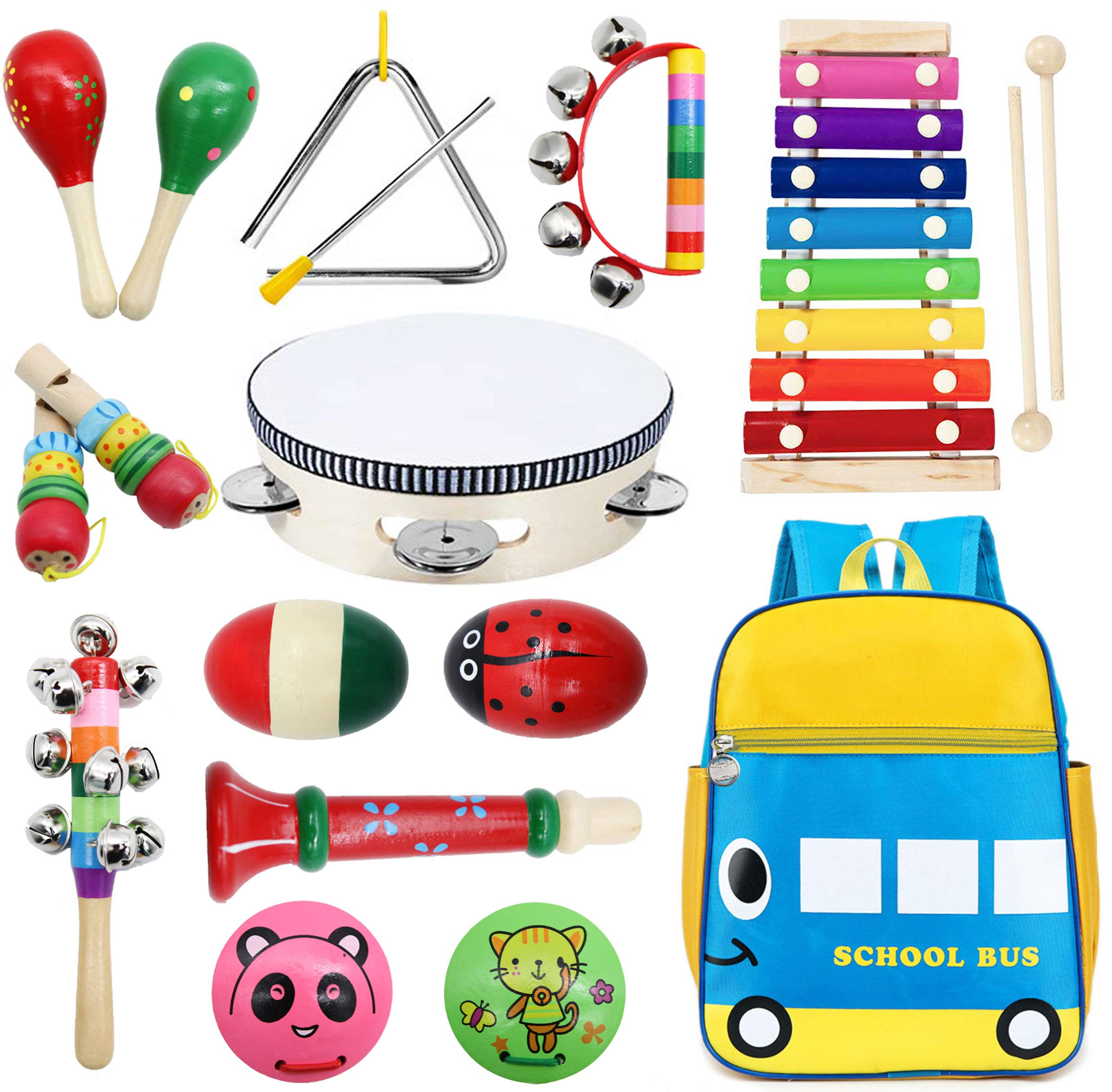 Toddler Musical Instruments Set Wooden Percussion Instruments Tambourine Xylophone Egg Shaker Maracas for Kids Preschool Education Early Learning Musical Toys for Boys Girls with Storage Backpack