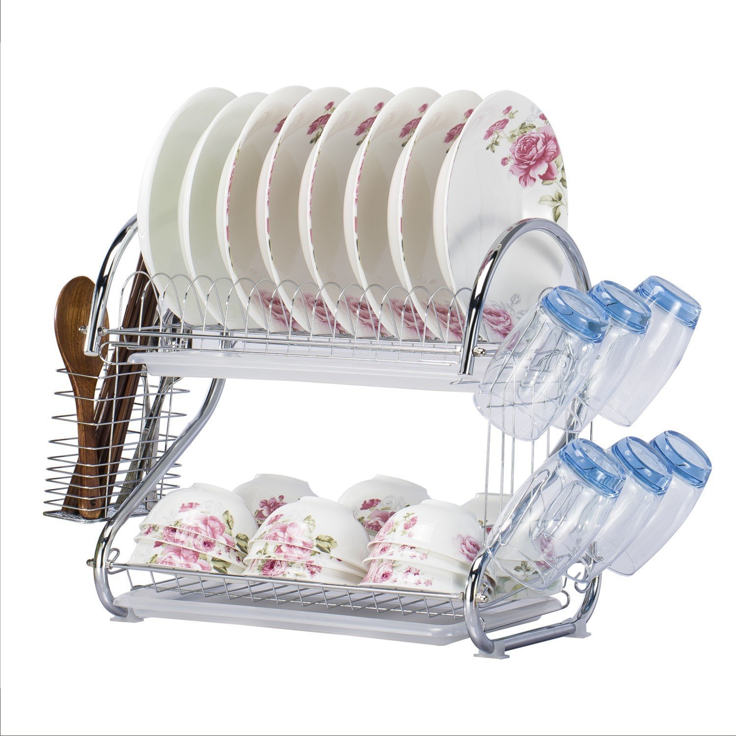 WORTOOL Dish Drying Rack 2 Tier Dish Rack and Drain Board, 21 inch 'S' Shape Double Draining Tray Design Effectively Prevent Cross-Contamination. by WORTOOL