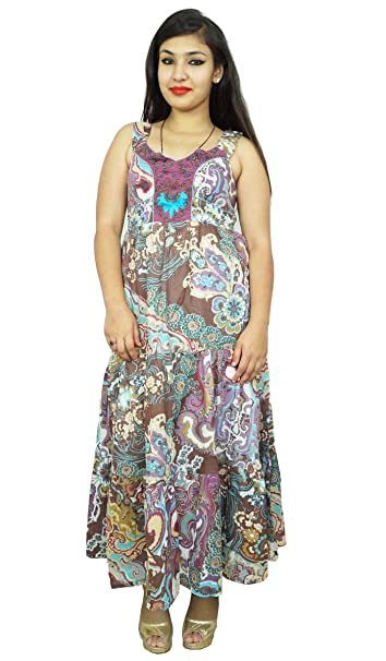 Indianbeautifulart estampado de flores de algodón puro correa de espagueti del vestido de túnica larga vestidos