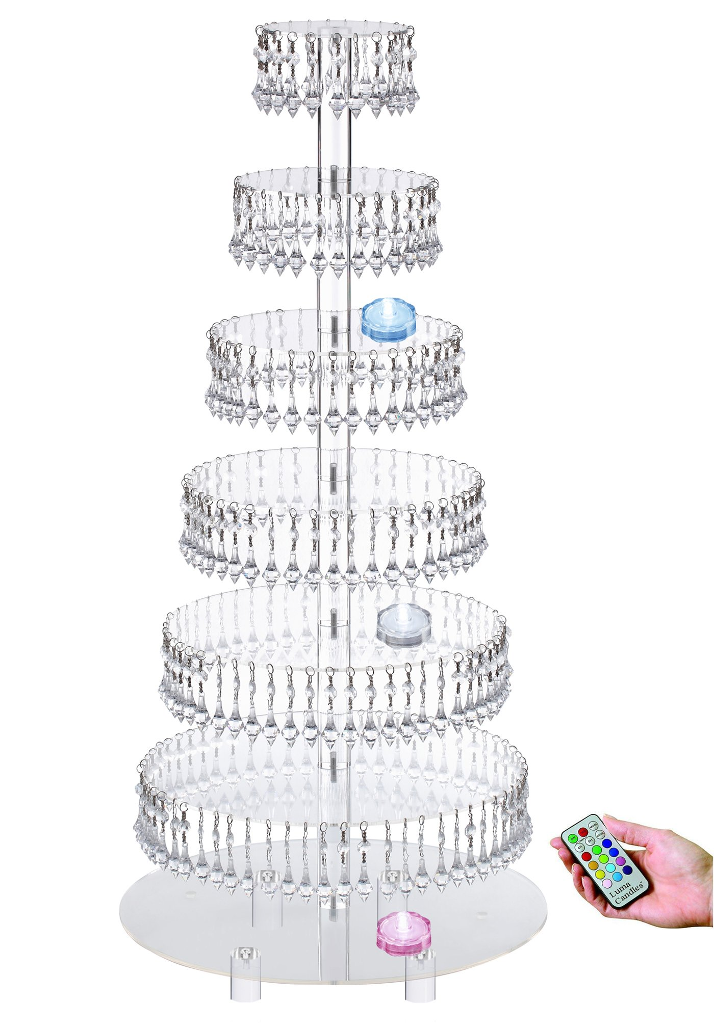 Acrylic Cupcake Tower Stand with Hanging Crystal Bead-wedding Party Cake Tower (7 Tier With Feet+LED Light) by Jusalpha