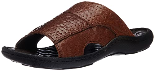 c8481f63c90bc Image Unavailable. Image not available for. Colour  Franco Leone Men s Tan  Leather Flip Flops ...