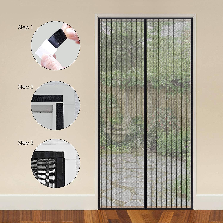 Facile /à Installer Brown 70x190cm GOUDU Moustiquaire Porte Magn/éTique Rideau Porte pour Couloirs Portes 28x75inch sans Percer