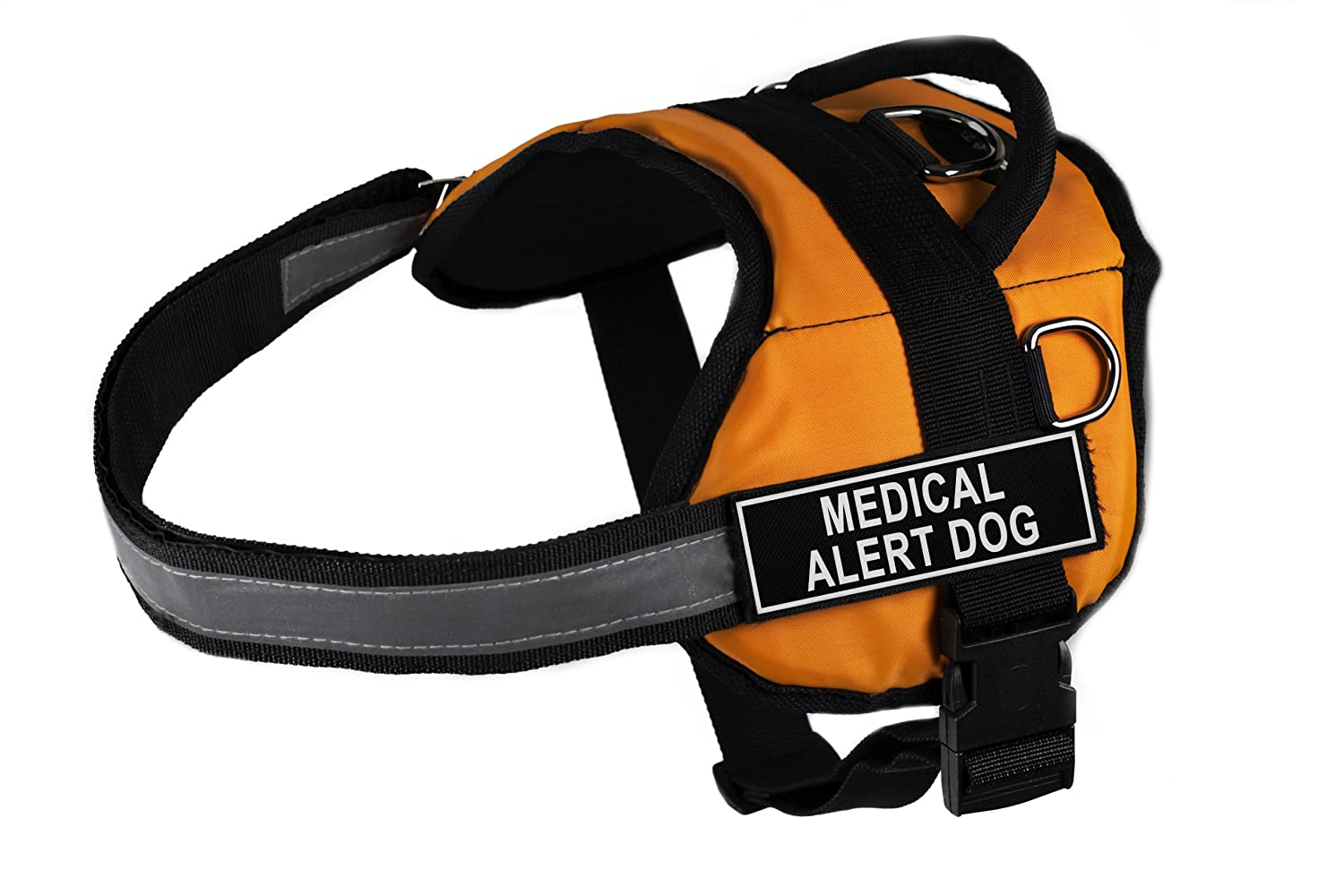 Dean & Tyler Works Medical Alert Dog Pet Harness, XX-Small, Fits Girth Size  18 to 21-Inch, orange Black