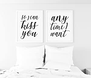 SpecsDecorCo So I can kiss You Anytime I Want Wall Art Sign - Sweet Home Alabama - Farmhouse Artwork - Bedroom Artwork - Romantic Wall Decor - Frames NOT Included (9 x 12 Inches)