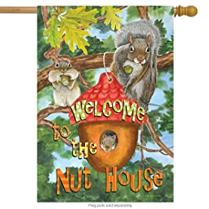 """Briarwood Lane Welcome to The Nut House Summer House Flag Squirrels Humor 28"""" x 40"""""""