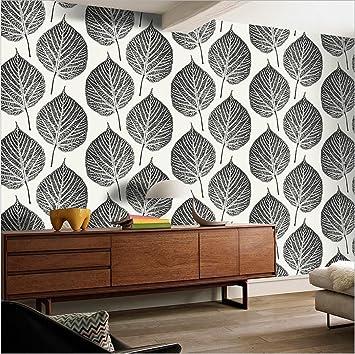 Hu0026M Tapete PVC Modern Einfach 3D Stereo Schwarz Und Weiß Blätter Tapete  Dekoration Schlafzimmer TV Wand