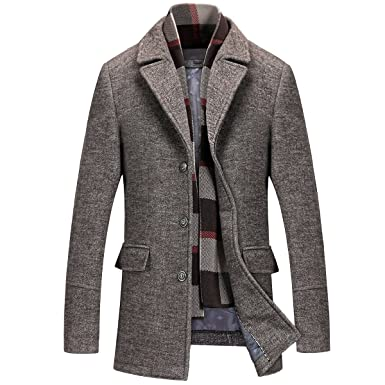 85b6895534da8 Mirecoo Men s Elegant Winter Warm Short Woolen Coat Business Jacket with  Free Detachable Soft Touch Wool