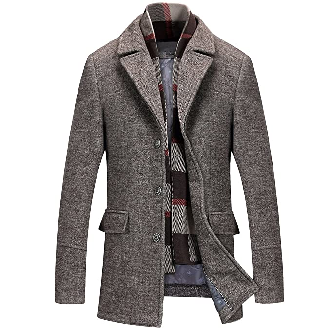 851d45bde538 Mirecoo Men s Elegant Winter Warm Short Woolen Coat Business Jacket with  Free Detachable Soft Touch Wool