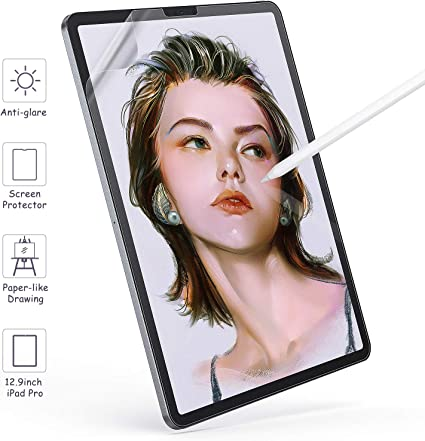 "Paper Screen Protector for iPad Pro 12.9""(2018-2020),Compatible with Face ID Full Cover Screen Protectors,Pencil Write, Draw & Sketch, Anti-glare Japan PET Screen Film (Matte,12.9inch)"