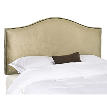 low priced 41af7 16200 Safavieh Connie Antique Sage Upholstered Headboard - Brass Nailhead (Full)