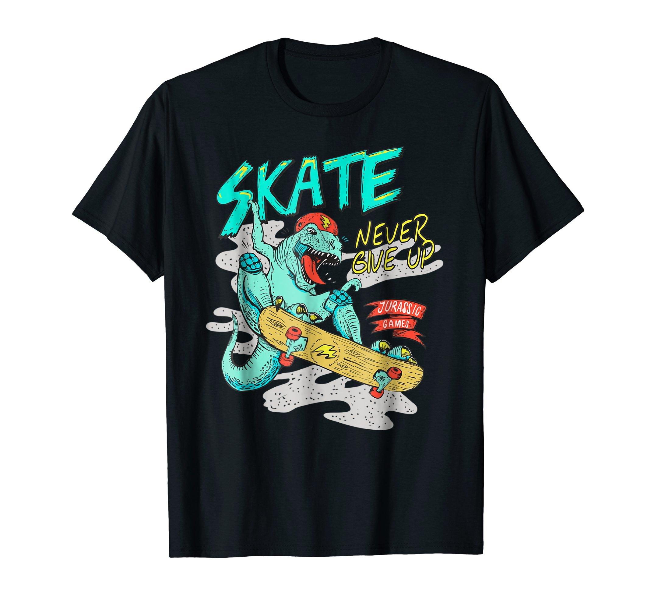 Jurassic-Games-Dinosaur-Skater-Fun-Humor-T-Shirt-Tee