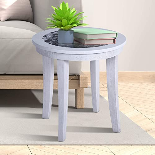 Olee Sleep 22″ NATURAL Marble Top From Italy Round Coffee Table/ Tea Table / End Table/ Side Table/ Office Table/ Computer Table / Vanity Table/ Dining Table