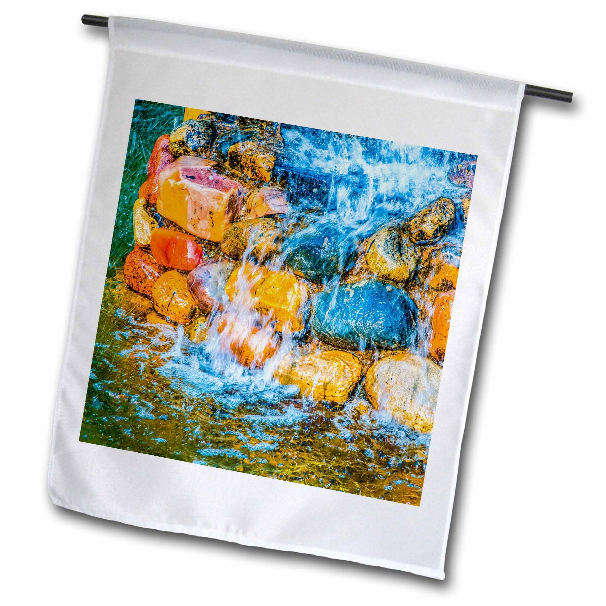 3dRose Alexis Photography - Objects - Colorful stones, splashes of clean water. Summer fountain - 18 x 27 inch Garden Flag (fl_270924_2)