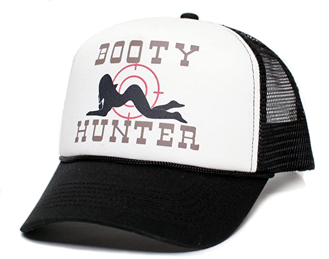 4496a8e2ac96f Booty Hunter Unisex-Adult Curved Bill One-Size Truckers Hat ((Black White))  at Amazon Men s Clothing store