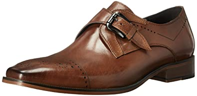 Stacy Adams Men's Kimball-Cap Toe Monk Strap Slip-on Loafer Saddle Tan 9.5 M