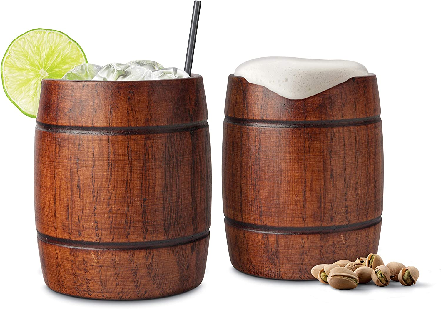 Final Touch Wood Barrel Tumblers, Set of 2 (GG1002)