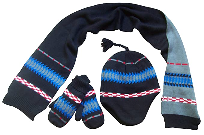 a8ac9f65a34 N Ice Caps Little Boys Racer Striped Knitted Hat Scarf Mitten Set ...