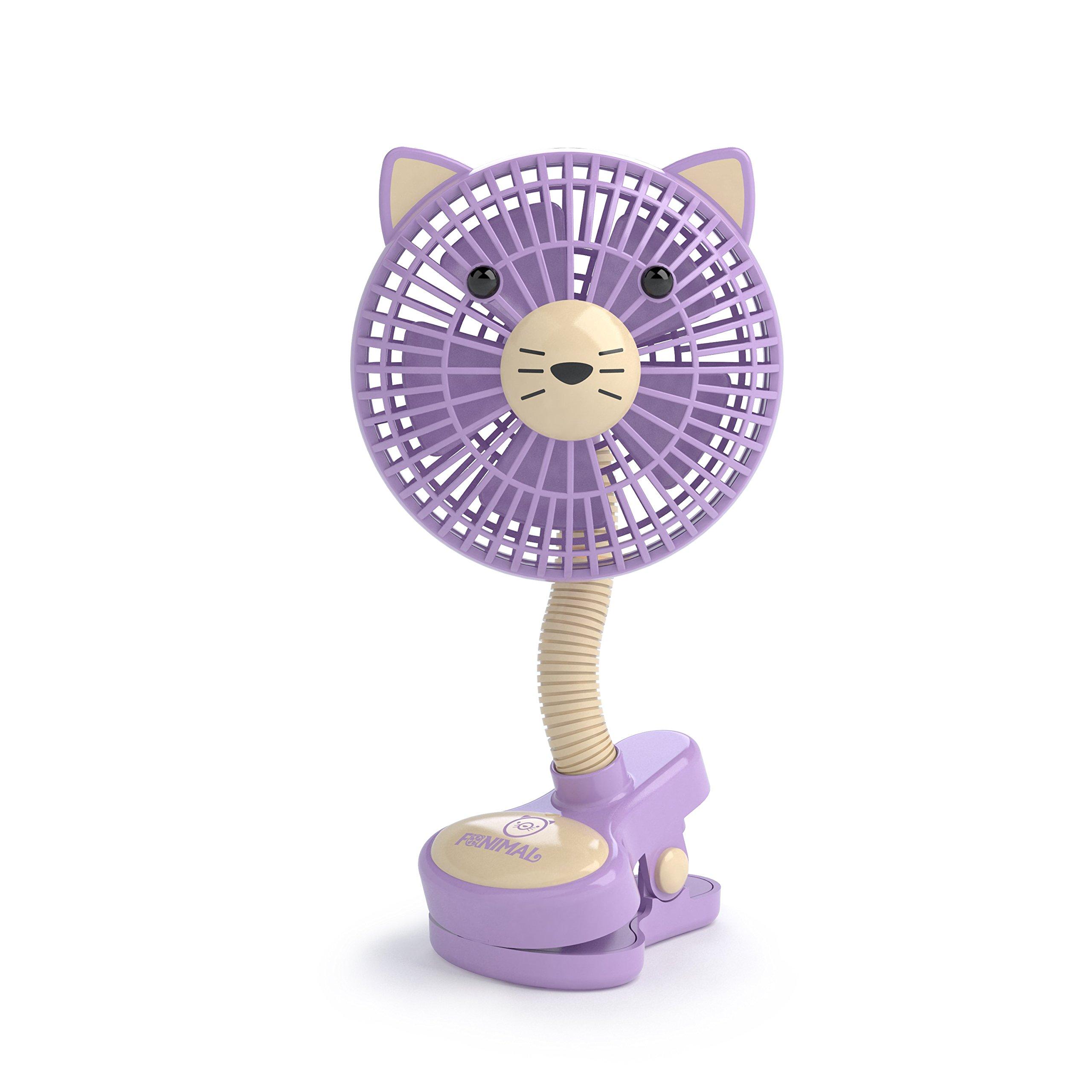LIVION Fanimal Clip-On Stroller Fan 5'' - Portable Baby Fan with Clip - Mini Desk Fan - Cute Stroller Fan with Animal Designs - Adjustable Gooseneck - USB/Battery Powered (Kitty)