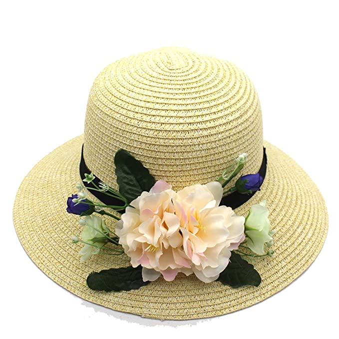 Summer New Sun Hats Flowers Straw Hats Holiday Travel Sun Hat Straw Hats ce419bc4b66