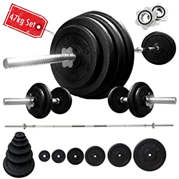 "BodyRip – Pesas para 47 kg Hierro fundido 5 ft 1 ""Spinlock Barbell 18"""
