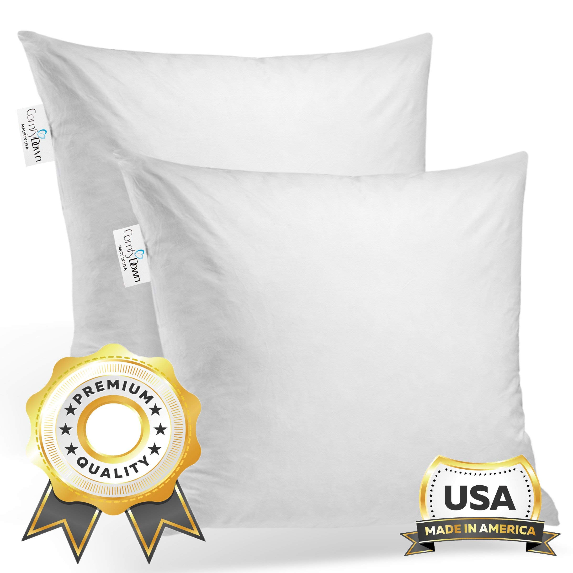 ComfyDown Set of Two, 95% Feather 5% Down, 28 X 28 Square Decorative Pillow Insert, Sham Stuffer - Made in USA