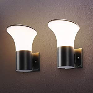 LMP 2 Packs Outdoor Wall Light LED Porch Light, Waterproof and Dust Resistant Light Fixtures Finishing with Aluminum, 3500K Wall Lamp for Yard, Patio, Entry, Garage, Garden