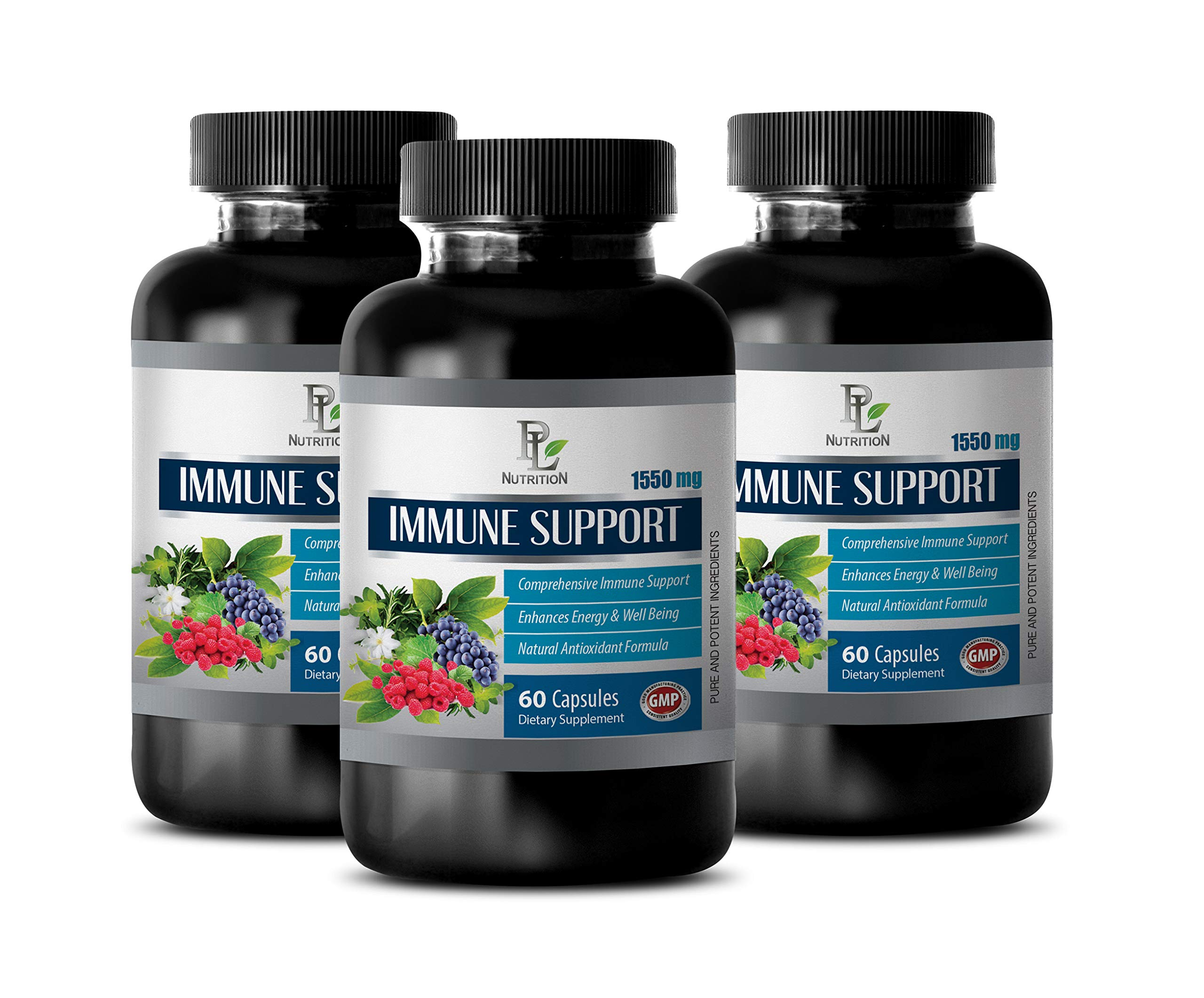 Immune Nutrition - Natural Immune Support Complex 1550MG - Powerful ANTIOXIDANTS - Best Herbs - Green Tea Vitamins - 3 Bottles (180 Capsules) by PL NUTRITION