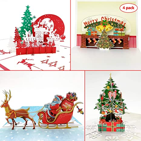 Christmas Pop Up Cards.3d Christmas Theme Greeting Cards 4 Packs Christmas Pop Up Cards Handmade Thank You Card Gift Card Best Wish Card With Christmas Tree Santa Claus