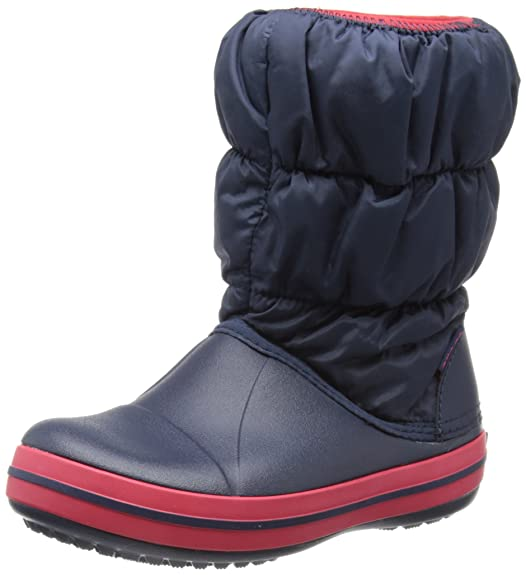 crocs Kids' Winter Puff Boot Navy/Red Girls' Boots at amazon
