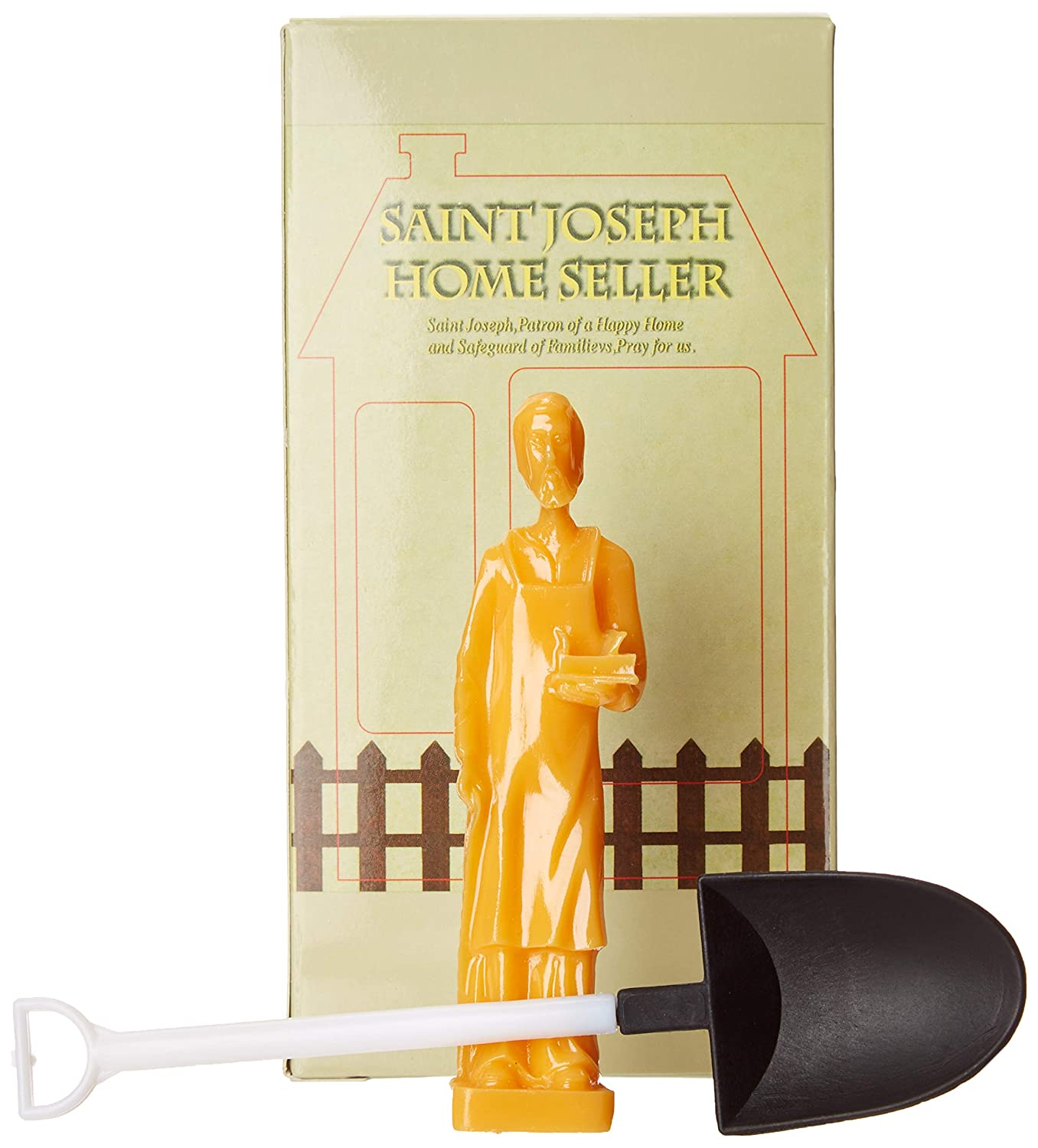 DOZENEGG Saint Joseph Religious Authentic Statue Home Seller Kit with Prayer Card and Instructions Includes Mini Shovel with Plastic Gloves.