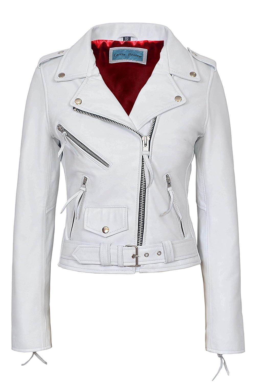 Cynthia Ladies White Biker Brando Slim fit Rock Real Napa leather Jacket MBF