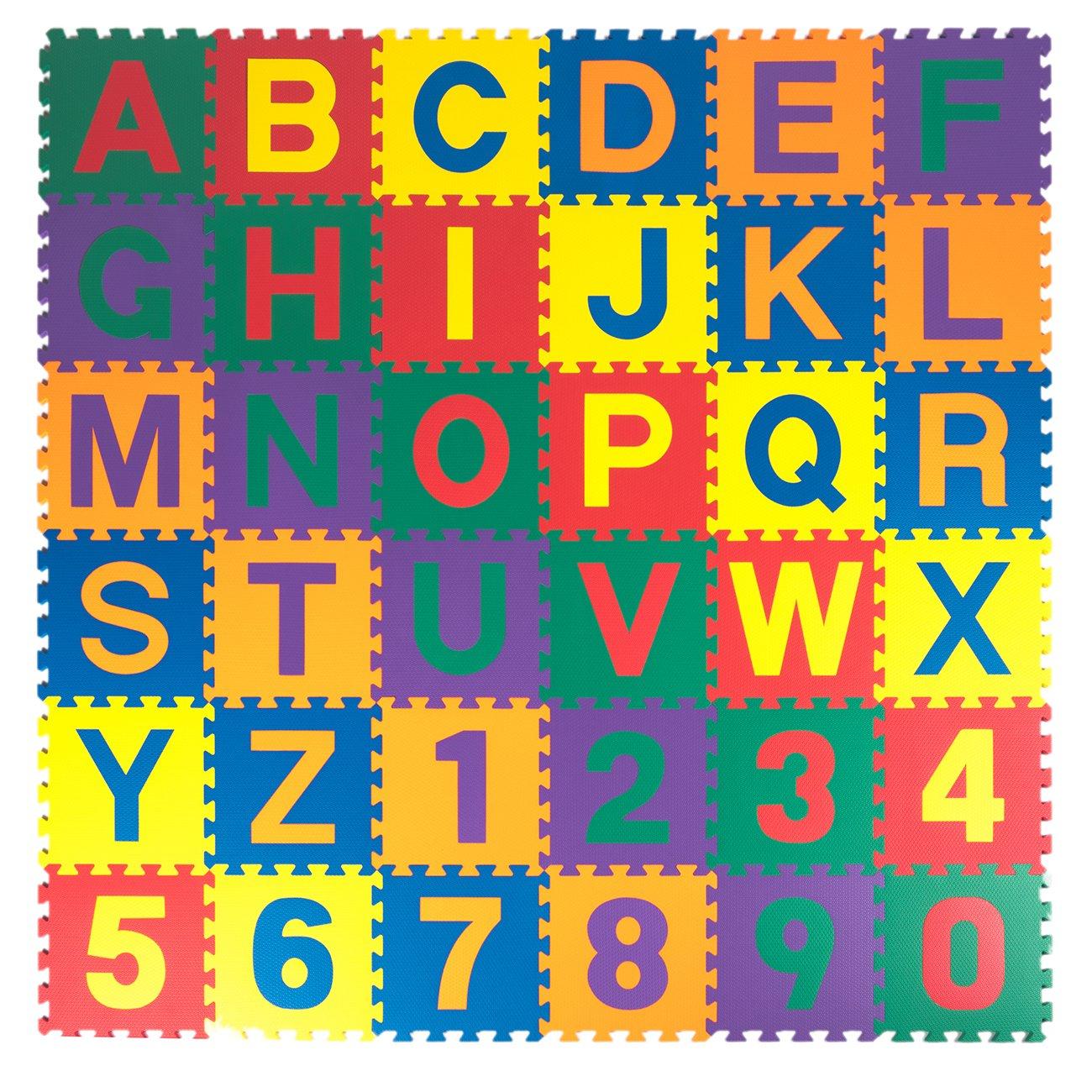Kidzone 12''x12'' Kids Baby EVA Foam Play Mats, Alphabet ABC+Numbers Puzzle Mat Non-Toxic 1/2'' Thick 36 Piece
