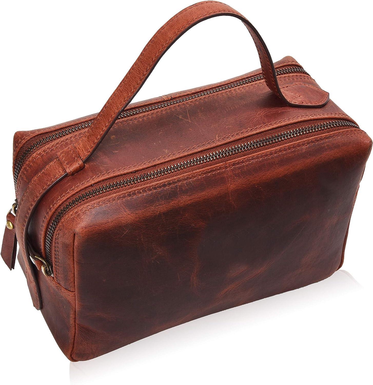 Toiletry Bag for Women and Men - Leather Travel Dopp Kit, Shaving or Makeup Bag