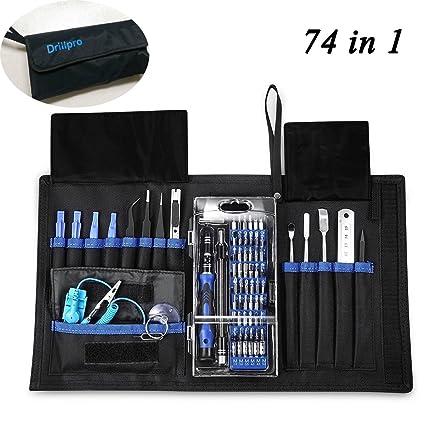 74 en 1 kit de destornillador magnético, Drillpro destornillador de precisión herramienta magnética portátil,