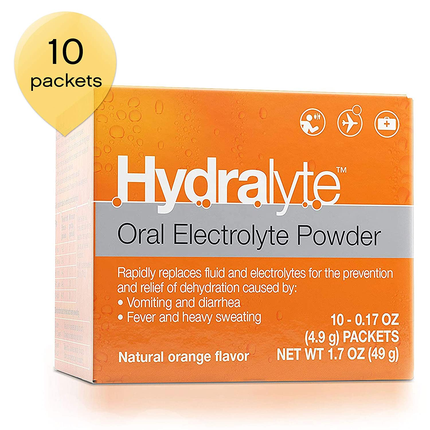 Amazon.com: Hydralyte - Electrolyte Powder Packets, Formula for On-The-Go  Clinical Hydration, Orange, 10 Count - Supports Recovery of Lost  Electrolytes Due ...