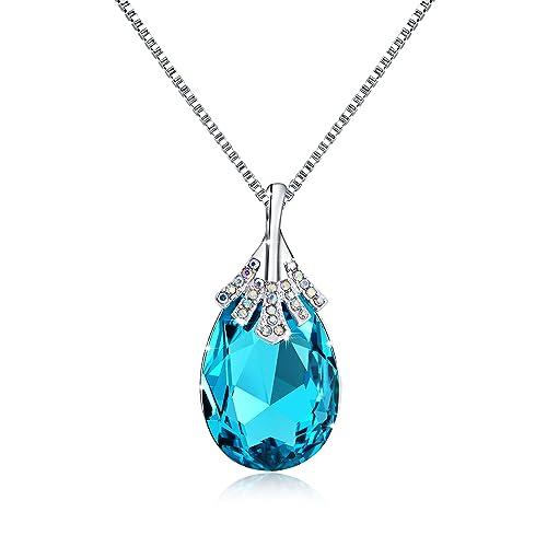 "OSIANA""Big Teardrop 18K GP Pendant Necklace Made Swarovski Crystal 18"" (Aqua)"